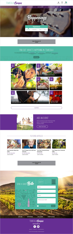 Temecula Escapes Events Page Desktop View